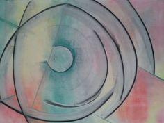 """Fish/Glass Orrery (after Constantin Brancusi, 1926)"" by Steven Mark de Ciantis, BIAD-Alumni artist Caja~Miraculum (acrylic and pastel on paper 42cmx68cm)"