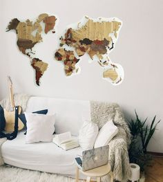 Natural Wood World Map made of 5 various tick natural wood types by GaDenMap. Large wall map ideal for office décor, travel. Perfect business gift, corporate gift. World Continent Map, Personalized Wood Map, Wall Map of the World, World Map, Large Wall Decor, Wall Map Décor, American Wood Map Wall Mural. See the topography of world in a whole new way with a wooden world map in your choice of size. You can place it at home, in the office, show room, restaurant and other places