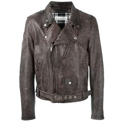 Golden Goose Deluxe Brand 'Chiodo' biker jacket ($1,310) ❤ liked on Polyvore featuring men's fashion, men's clothing, men's outerwear, men's jackets, black, mens leather motorcycle jacket, mens leather biker jacket, mens real leather jackets, mens distressed leather jacket and mens leather moto jacket