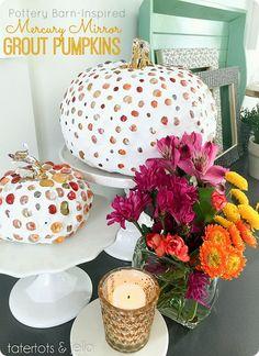 DIY Pottery Barn-inspired Mercury Mirror Grout Pumpkin Tutorial from Tatertots & Jello Pumpkin Vase, Diy Pumpkin, Pumpkin Crafts, Fall Crafts, Pumpkin Carving, Pumpkin Ideas, Holiday Crafts, Faux Pumpkins, Painted Pumpkins