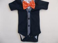 Baby Boy Navy Cardigan Onepiece Orange Dot by groovyapplique