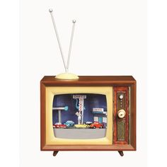 Travel back in time with this nostalgic piece. An old-time television set serves as a frame for a retro scene. Christmas Tree Design, Music Tv, Slipcovers, Decorative Pillows, Throw Pillows, Wall Art, Retro, Toys, Frame