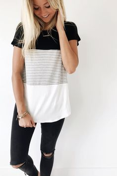 Color Block Tee Scoop Neck White, Black + Striped Short Sleeve Loose Fit Also Available in Mauve, Navy + Ocean View Size Chart Fashion Mode, Look Fashion, Autumn Fashion, Spring Fashion, Mode Outfits, Casual Outfits, Fashion Outfits, Casual Shirt, Black Jeans Outfit Casual