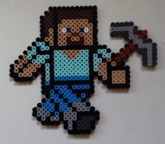 Week 2, Day 14, Minecraft, Steve, Perler Beads 365 Day Challenge.