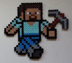 Week 2, Day 14, Minecraft, Steve, Perler Beads 365 Day Challenge.