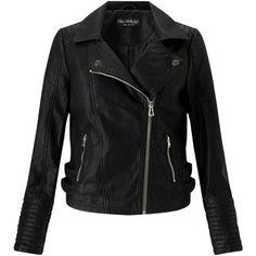 Miss Selfridge Elsy Faux Leather Biker Jacket, Black ($65) ❤ liked on Polyvore featuring outerwear, jackets, long sleeve jacket, vegan moto jacket, faux-leather moto jackets, short-sleeve jackets and vegan motorcycle jacket