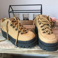 d2cf0a98f449 Vintage Skechers Jammers Chunky Platform leather - Depop