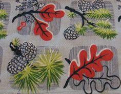Vintage Barkcloth Red Leaf Fabric Dinner for by threemartinilunch