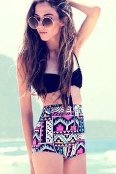 Ummm cute!   Print High Waisted Bikini Set: Swimwear   ZAFUL