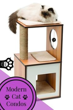 (paid link) Cat Tree Houses for huge cats Cat Tree House, Cat Tree Condo, Cat Condo, Vesper Cat Furniture, Modern Cat Furniture, Cool Cat Trees, Cool Cats, Cat Climbing Wall, Cat Tree Plans