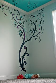 love this wall/ceiling Simple Wall Paintings, Creative Wall Painting, Wall Painting Decor, Diy Wall Art, House Painting, Wall Art Decor, Bedroom Wall Designs, Wall Art Designs, Wall Paint Patterns