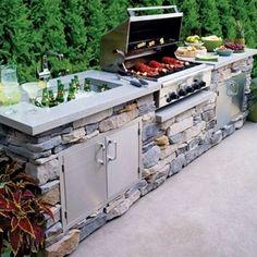 Outdoor Kitchen Kits, Backyard Kitchen, Outdoor Kitchen Design, Small Outdoor Kitchens, Simple Outdoor Kitchen, Small Kitchens, Design Jardin, Garden Design, Backyard Patio Designs