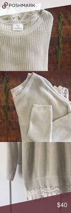 """Oversized Cream Sweater Pins and Needles oversized cream knit sweater. Lace peaking out the bottom of sweater. Cotton and acrylic blend. 31.5"""" in length, 48"""" bust. Urban Outfitters Sweaters"""