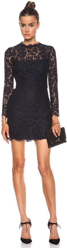 $3,980, Navy Lace Sheath Dress: Valentino Lace Knit Dress. Sold by Forward By Elyse Walker. Click for more info: http://lookastic.com/women/shop_items/67946/redirect
