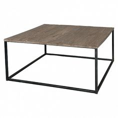 Industrial side table with grey elm top - Trade Secret