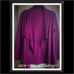 """New York & Company Fly Front Cardigan New York & Company Fly Front Cardigan Sweater. Color: Raspberry/Magenta. Size: L. Rolled cuffs. 3"""" Ribbed knit edging along bottom, down front edges & collar. Front has a different textured knit. The back and sleeves have a standard knit. About 19"""" from armpit to hem. Raised seem along back, collar and on inner side of front flaps. Material: 100% acrylic. Care: Machine wash gentle cycle inside out. Lay flat to dry. Light wear to the fabric kind of a…"""