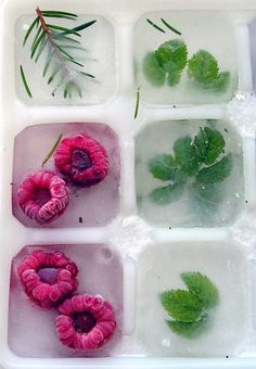 Thinking of a way to dress up your cocktails for your party? How about fruit and herb infused ice cubes? Use mint, raspberries or even rosemary to give your signature cocktail that extra kick! Snacks Für Party, Party Drinks, Halloween Drinks, Partys, Infused Water, Summer Drinks, Holiday Drinks, Thanksgiving Cocktails, Summer Fruit