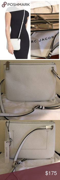 """Marc Jacobs pike place double Percy crossbody bag Double up on convenience and double down on style with a dual-compartment crossbody bag shaped from softly pebbled leather and finished with sleek, modern hardware. - Adjustable shoulder strap - Dual top zip closures - Dual interior compartments - Approx. 7"""" H x 9.5"""" W x 1"""" D - Approx. 22-25.5"""" shoulder strap drop Materials: Leather exterior, textile lining.               Color: Off white Marc Jacobs Bags Crossbody Bags"""