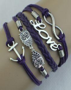 Infinity, Love, Owls, Anchor Wrap Bracelet – Purple  $15.00  Fashion Jewelry at Modest Prices - www.gomodestly.com
