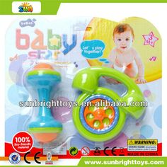 Colorful plastic baby bell rattle toy  Funny baby rattle  Eco-friendly material  Plastic hand cartoon baby rattle toy