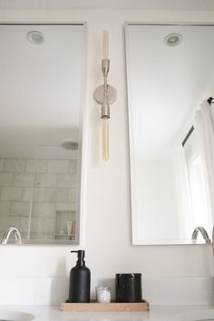 minimalist black and white bathroom Black And White Master Bathroom, White Bathroom, Restoration Hardware Outlet, Marble Showers, Linen Cabinet, Bathroom Goals, Black Candles, Under Cabinet Lighting, Floor Decor