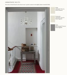 Farrow and Ball Ammonite white and Moles Breath table. 2 diff sheen of ammonite Hall Colour, Living Room Bookcase, Period Living, Hallway Decorating, Decorating Ideas, Painting Wallpaper, Ammonite, Victorian Homes, Colors