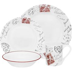 Corelle Impressions Sincerely Yours 16-Piece Dinnerware Set - My new dishes, except I am buying them piece by piece and getting different bowls. But, these are the plates I've been buying!