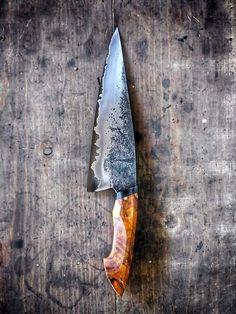 Kitchen Cutlery, Kitchen Knives, Knife Patterns, Damascus Knife, Iron Art, Custom Knives, Knives And Swords, Chef Knife, Knife Making