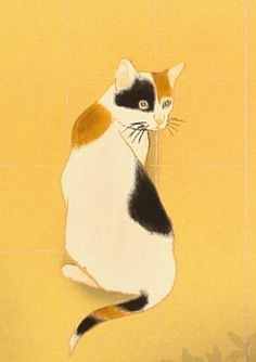 Consider, asian print cat looking out window