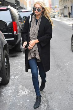 runwayandbeauty:  Gigi Hadid hit a fashion high note with her grey fur coat and mirrored sunglasses as she walked through New York on Feabruary 14, 2015.She teamed her thick coat with a pair of tight blue jeans and kept it comfortable with black ankle boots.