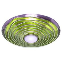 Multicolored glass serving bowl with a spiral motif.  Product: BowlConstruction Material: GlassColor: MultiDimensions: 3.5 H x 15.75 Diameter