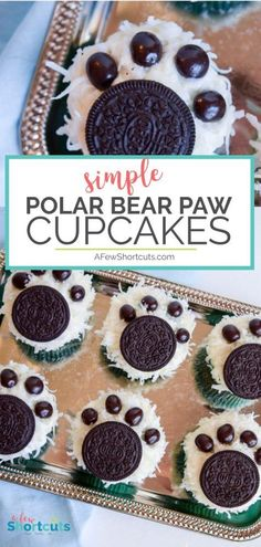 Celebrate the chilly weather with this fun Polar Bear Paw #Cupcakes #Recipe. Such a cute simple decorating idea for a party or just for fun! #winter via @afewshortcuts