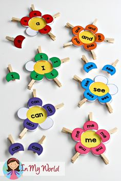 Spring Preschool Centers: clip the sight word petals to the matching sight word flower. Great for fine motor practice too!