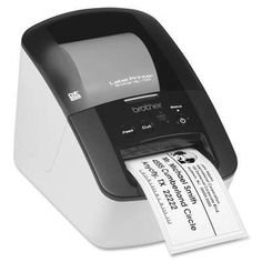 "Brother QL-700 label printer: create cost-effective paper labels for packages, file folders, discs, banners, postage and more. Needs no ink or toner. Ultra-fast printing & easy set up with ""Plug & Lab"