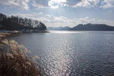 Winter view of Daecheong lake in Cheongju, South Korea