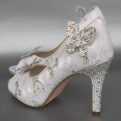 Wedding Shoes  Ivory Peeptoes with Lace by DesignYourPedestal, $630.00