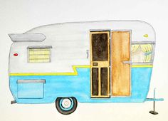 If you like vintage campers, you'll love this watercolor illustration of one and a free printable!