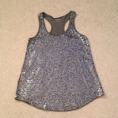 Grey sparkle tank top! Worn once Grey sequin racer back tank top! Worn once Express Tops Tank Tops
