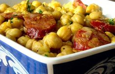 Portuguese Chickpeas with Chouriço Recipe - Portuguese Recipes - Food Recipes from Portugal Pork Rib Recipes, Wine Recipes, Cooking Recipes, Bifana Recipe, Smashed Potatoes Recipe, Portuguese Recipes, Portuguese Food, Orange Recipes, Mets
