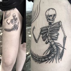 """David Poe on Instagram: """"#mermaid #skeleton #black #linework #tattoo on @tinapoe!"""""""