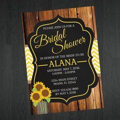 Sunflower Bridal Shower Invitation - Sunflower Invitations by MemorableImprints
