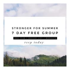 Y'all. Time is flying & believe it or not SUMMER is approaching  .. Don't panic though gals.. Sunshine pool days shorts & bathing suits SHOULDN'T make you anxious. What if this year you got EXCITED & healthier?! #WhyTheHeckNOT .. To help all you BEAUTIES get STRONGER & healthier for summer I decided to host a {FREE} 7 day group to offer inspiration resources motivation & community  .. During this week long group I'll be offering:: a meal plan a corresponding grocery list a log in to access…