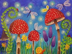 Free Acrylic Tutorial Mushrooms Fairy Garden Painting LIVE Step by Step Video by Angela Anderson on YouTube #fairygarden #mushrooms #acryliconcanvas #lovesummerart #painting #nature
