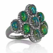 Rarities Black Ethiopian Opal and White Topaz Ring