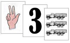 Karty cca 7 x 9 cm:  Čísla 1-10.  Obrázek prstů. Doprovodný obrázek (příslušný počet vozidel).  Celkem 30 karet.