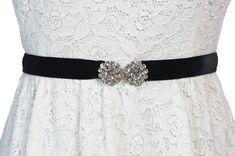 Jess/little strech velvet belt with genuine crystal hooks, Bridal sash, wedding sash, crystal sash, rhinestone sash