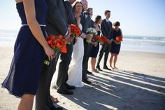 La Jolla Scripps Seaside Forum wedding - midnight blue bridesmaid dresses, orange and white tulips, beach wedding  San Diego Destination Wedding