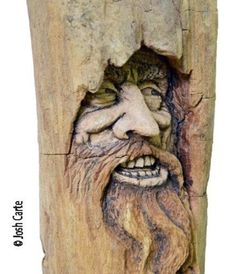 Driftwood Carving, Wood Face