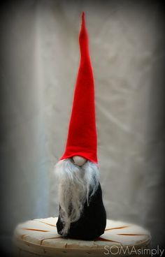 Scandinavian Gnome Black with Red Hat by SOMAsimply on Etsy, $25.90