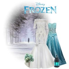Love the idea of the bride wearing a white dress and the bridesmaids wearing blue for a Frozen themed wedding!